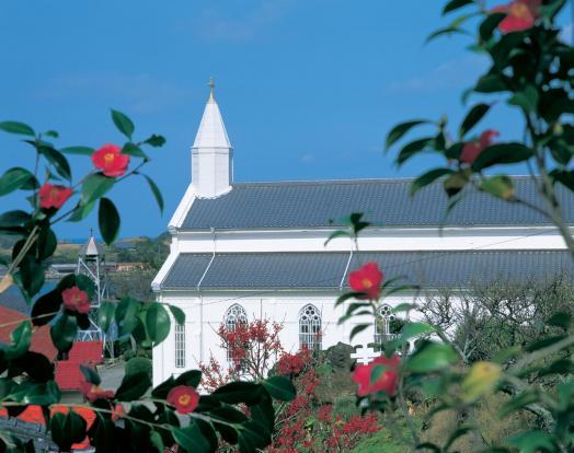 水ノ浦教会と椿2