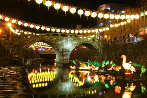 長崎ランタンフェスティバル(中島川公園会場 眼鏡橋)