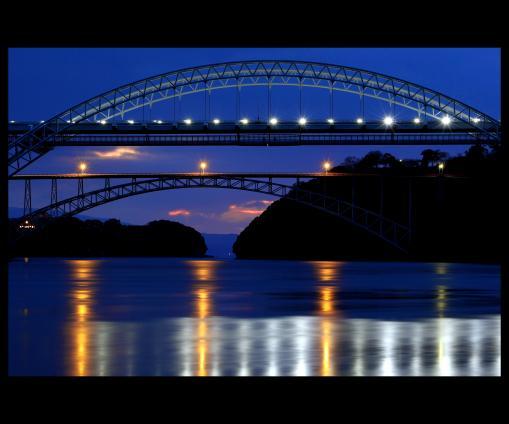 日の出を待つ西海橋©SASEBO
