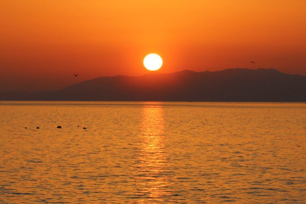 ◆ラストは小浜温泉の夕日-0