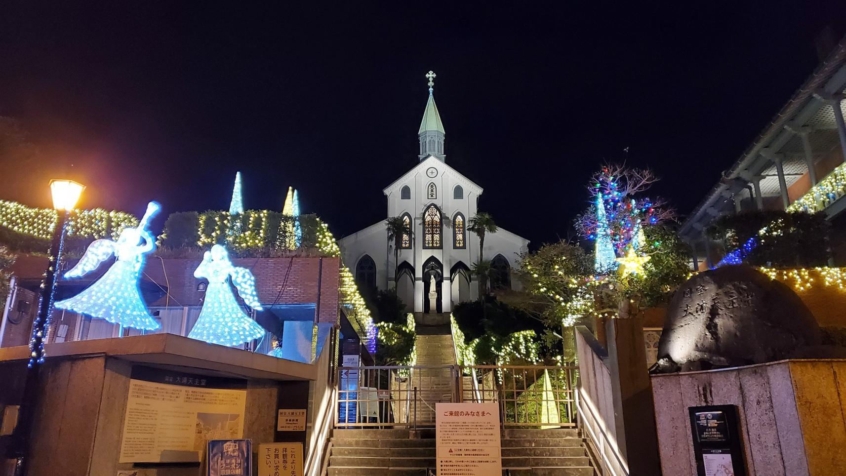 大浦天主堂のクリスマスイルミネーション-1