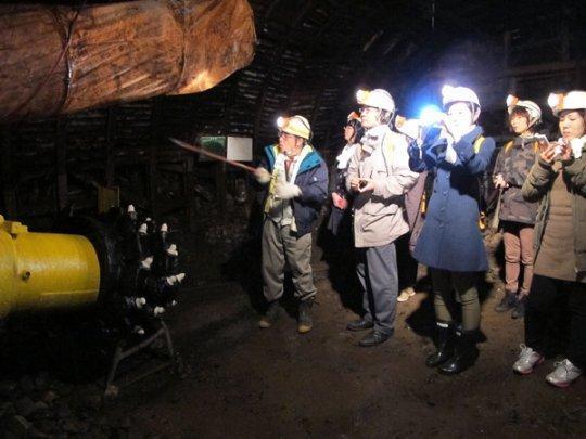 石炭採掘復元場所見学-1