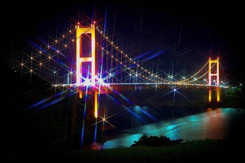 夜の平戸大橋-1