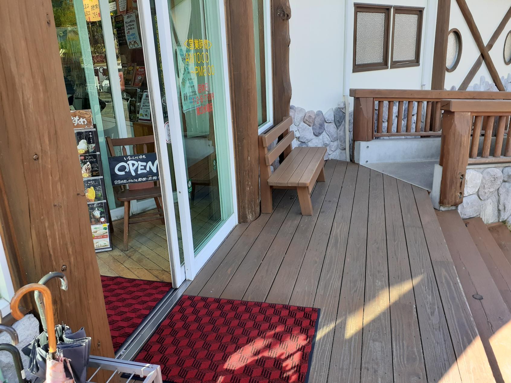 玄関ドア越しの階段とスロープ-1