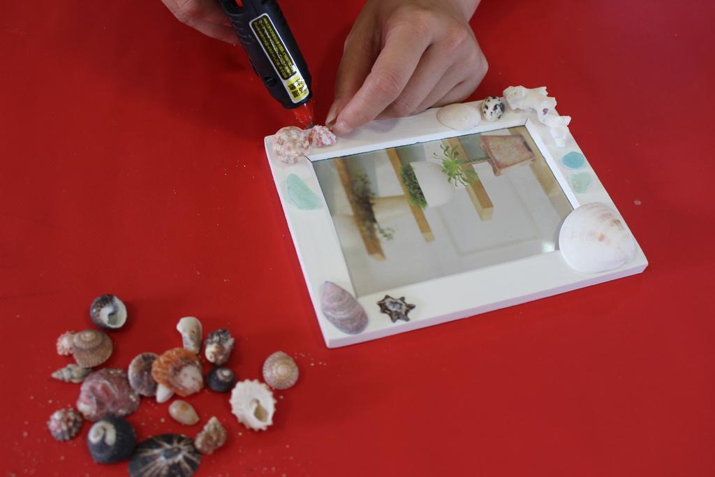 五島の貝殻でフォトフレーム作り体験-5